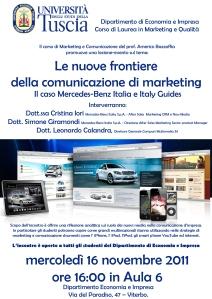 Locandina incontro Mercedes Benz Italia con Prof. Americo Bazzoffia nel Dipartiment