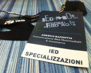 Nuovo corso in comunicazione allo IED di Roma tenuto dal prof. Americo Bazzoffia
