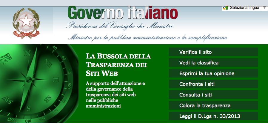 La bussola della trasparenza del Ministero per la Funzione Pubblica