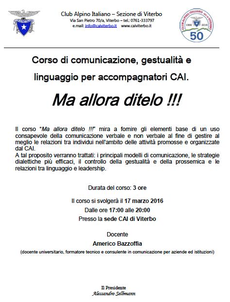 Locandina Corso di comunicazione gestualità e linguaggio per accompagnatori CAI - Club Alpino Italiano