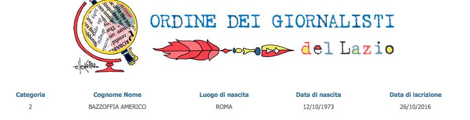 Il prof. Americo Bazzoffia è giornalista iscritto all'Ordine dei Giornalisti del Lazio