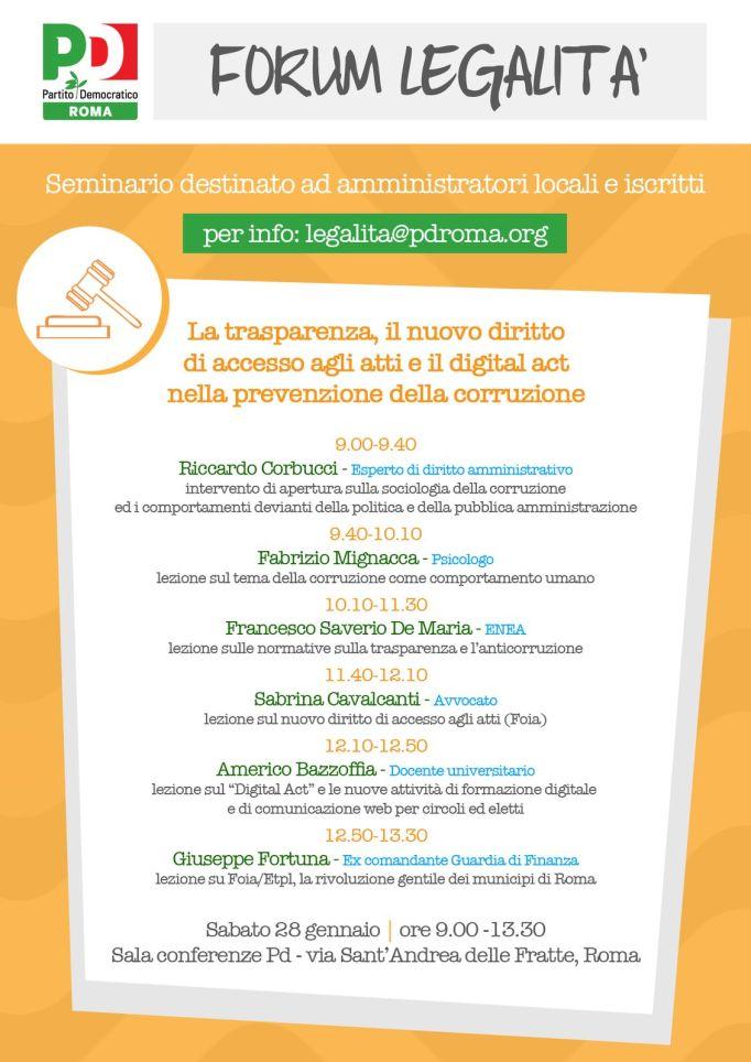 Seminario su Trasparenza, Accesso agli atti e Digital Act del PD presso la sede nazionale del PD di Via Sant'Andrea delle Fratte a Roma