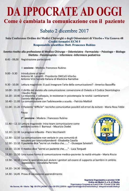 Convegno Ordine dei Medici Chirurghi e degli Odontoiatri di Viterbo Da Ippocrate ad oggi in cui interverà il prof. Americo Bazzoffia