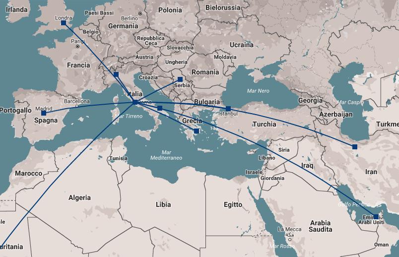 Mappa delle sedi dove si svolge la formazione di Challenge Network