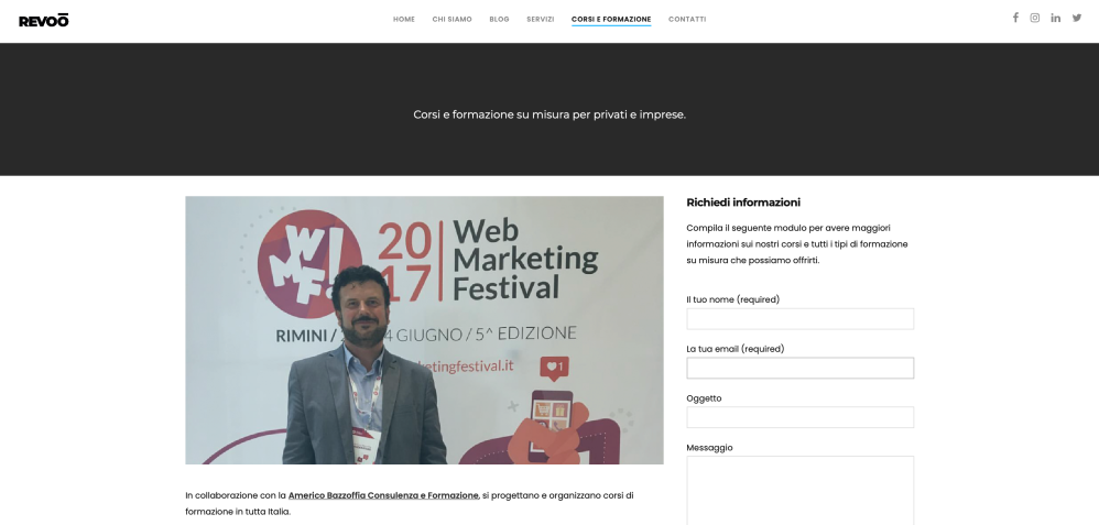 Americo Bazzoffia e Revoo  insieme per realizzare corsi avanzati e innovativi in web marketing e comunicazione digitale